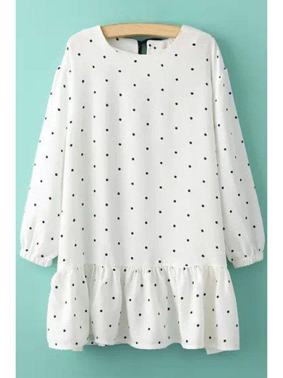 outfits Polka Dot Flounce Splicing Dress - WHITE ONE SIZE(FIT SIZE XS TO M)