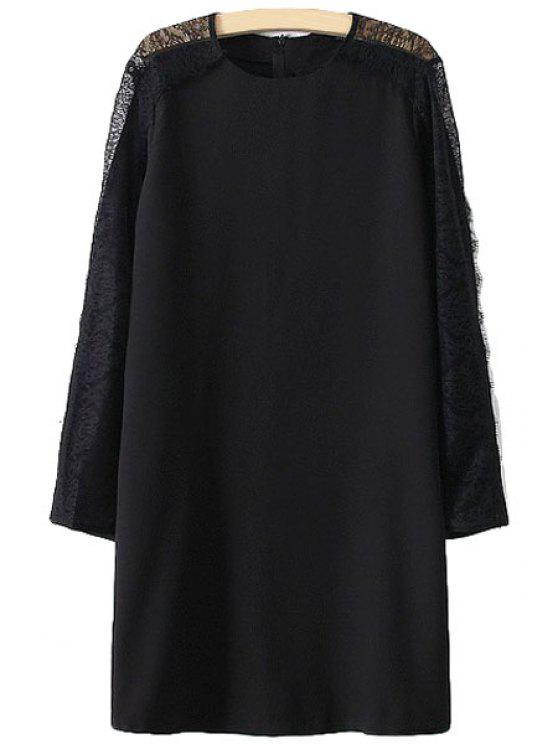 buy Lace Splicing Openwork Long Sleeve Dress - BLACK S