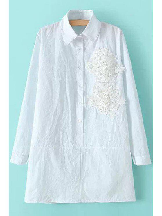 sale Lace Splicing Faux Pearl Shirt - WHITE ONE SIZE(FIT SIZE XS TO M)