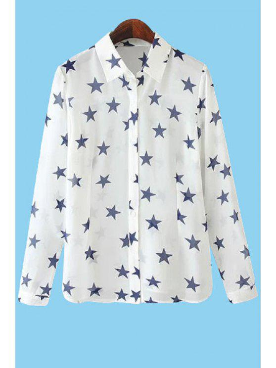 buy Star Print Long Sleeve Shirt - WHITE S