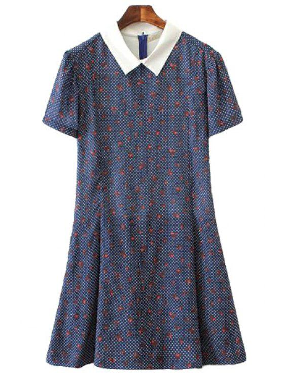 chic Polka Dot Paper Crane Print Jumpsuit - BLUE S