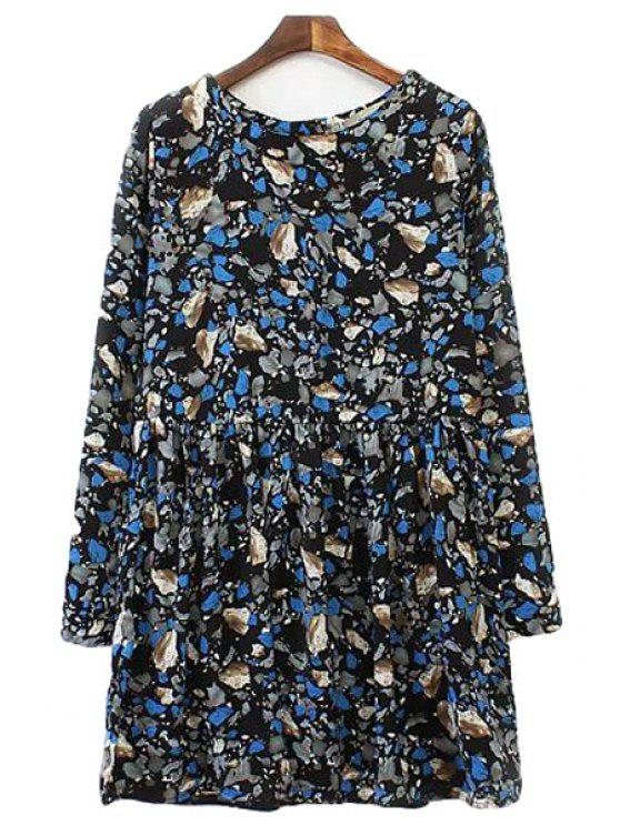 new Jewel Neck Print Long Sleeve Dress - PURPLISH BLUE S