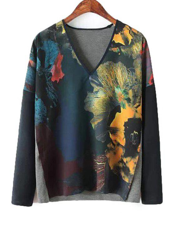 womens Splicing Floral Print Long Sleeve T-Shirt - YELLOW M