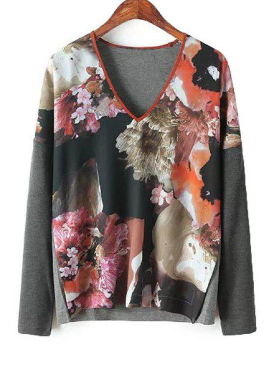 unique Splicing Floral Print Long Sleeve T-Shirt - RED S