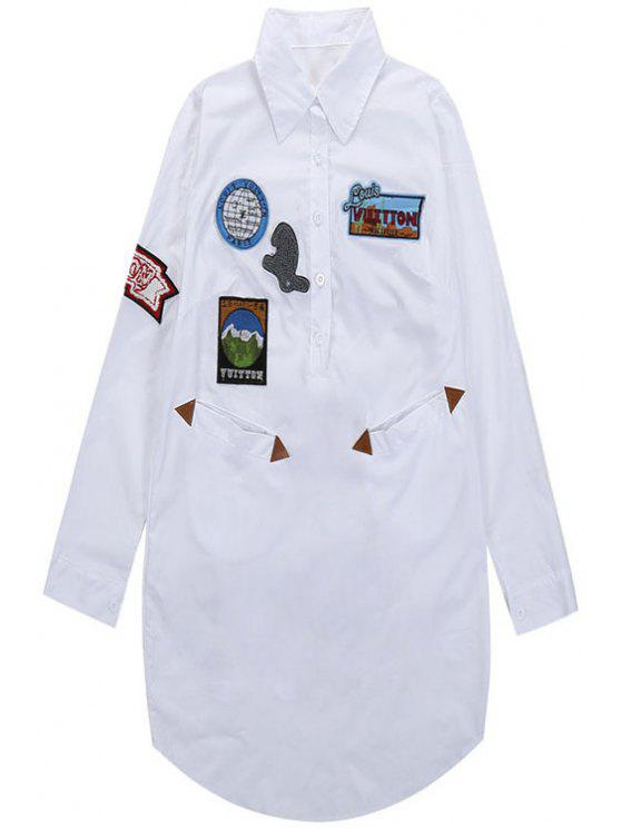 unique Embroidery Flocking Shirt Neck Dress - WHITE ONE SIZE(FIT SIZE XS TO M)