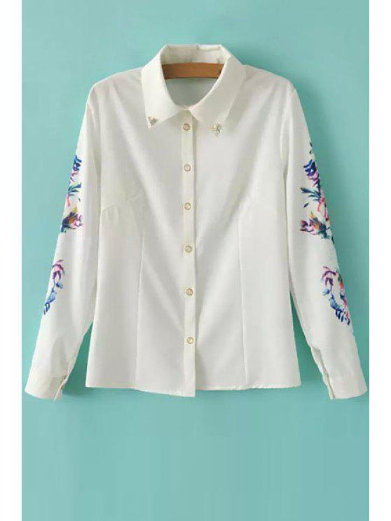 online Rhinestone Embellished Floral Print Shirt - WHITE S