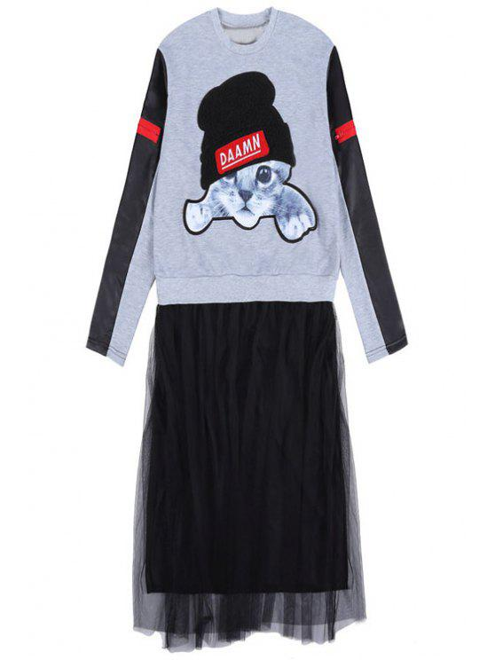 affordable Kitten Pattern Voile Splicing Dress - GRAY ONE SIZE(FIT SIZE XS TO M)