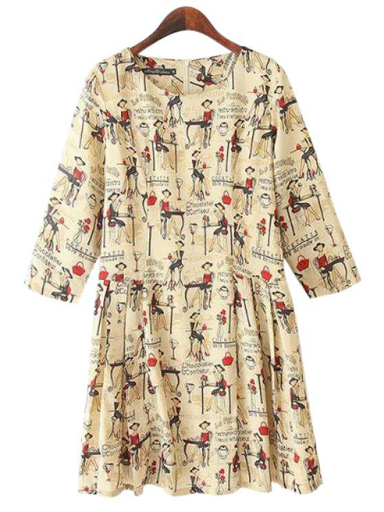 new Cartoon Figure Print 3/4 Sleeve Dress - KHAKI M