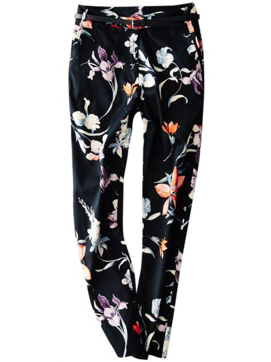 new Floral Print Zipper Fly Harem Pants - BLACK S