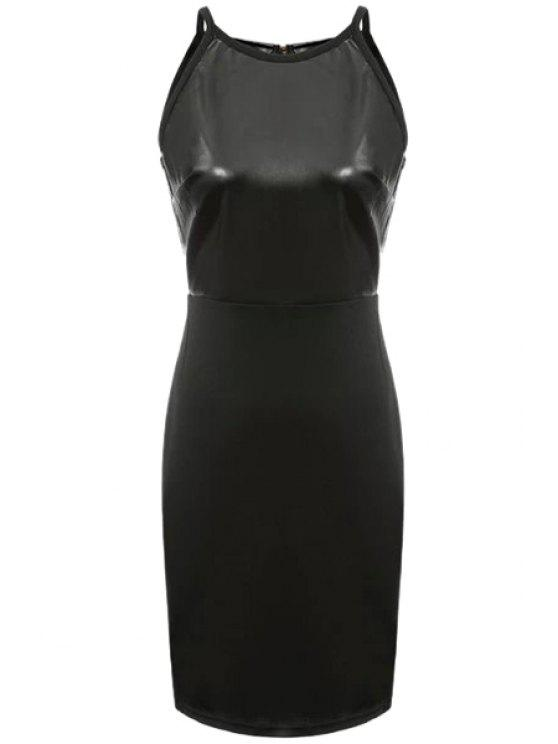 fashion Faux Leather Splicing Sleeveless Dress - BLACK S
