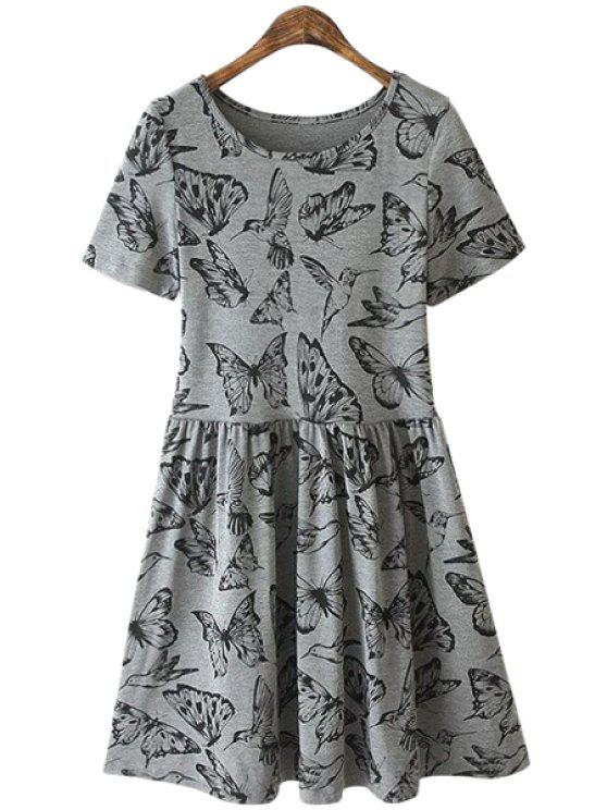 womens Butterfly and Birds Print Dress - GRAY S