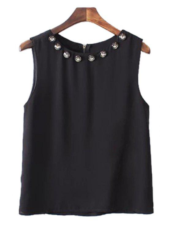 shop Solid Color Rhinestone Embellished Tank Top - BLACK S