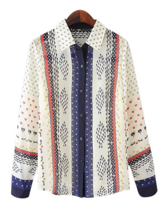 shops Colorful Fish Print Long Sleeve Shirt - WHITE S