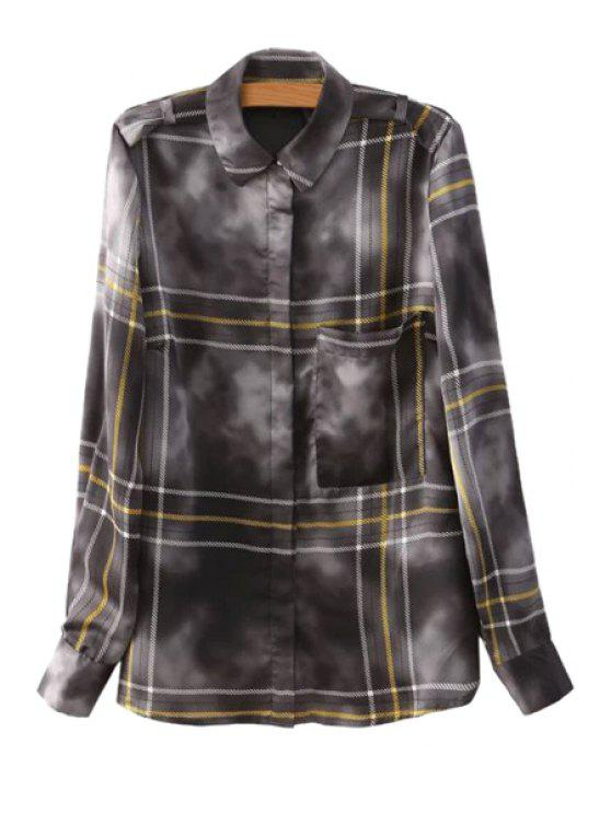 unique Color Block Plaid Long Sleeve Shirt - COLORMIX S