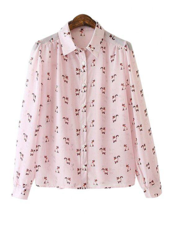 women's Cat Print Long Sleeve Shirt - PURPLE S