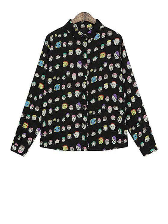 hot Cartoon Face Print Long Sleeve Shirt - BLACK ONE SIZE(FIT SIZE XS TO M)