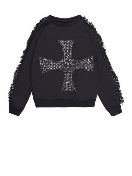 online Cross Pattern Fringe Sweatshirt - BLACK ONE SIZE(FIT SIZE XS TO M)