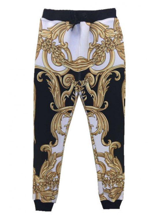 shop Abstract Print Drawstring Pants - BLACK ONE SIZE(FIT SIZE XS TO M)