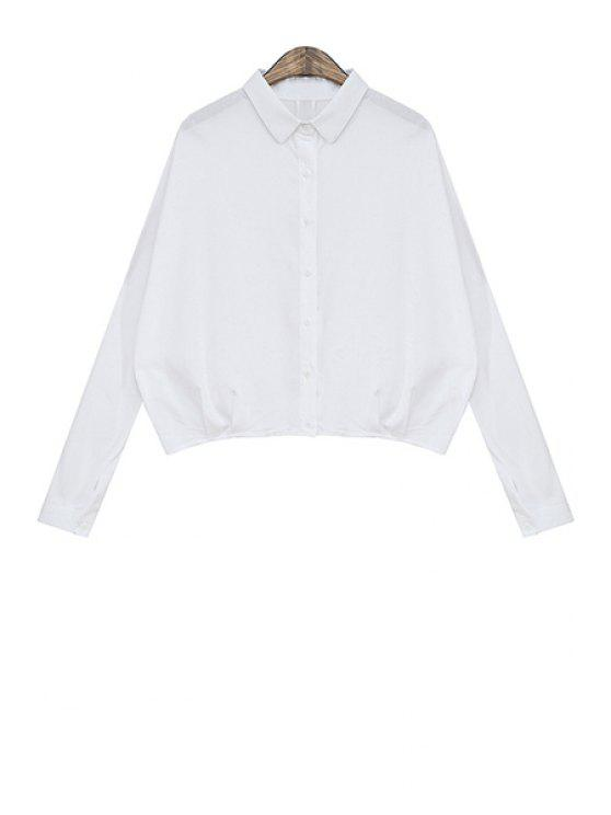 buy Solid Color Ruffle Long Sleeve Shirt - WHITE ONE SIZE(FIT SIZE XS TO M)