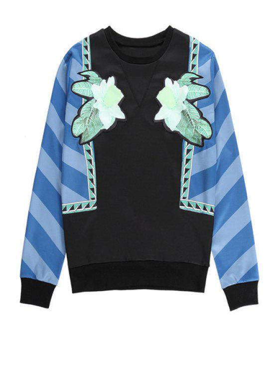 new Floral Color Block Sweatshirt - BLUE ONE SIZE(FIT SIZE XS TO M)