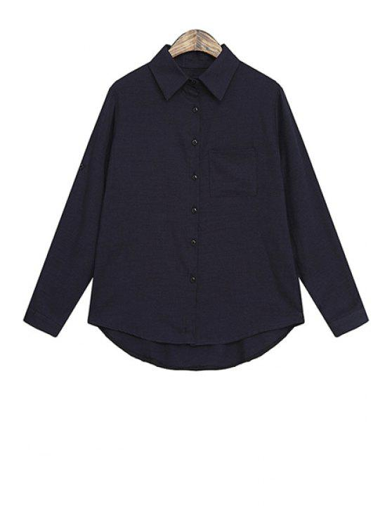 women Asymmetrical Pocket Long Sleeve Shirt - DEEP BLUE ONE SIZE(FIT SIZE XS TO M)