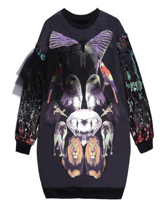outfit Animals Print Voile Splicing Sweatshirt - BLACK ONE SIZE(FIT SIZE XS TO M)