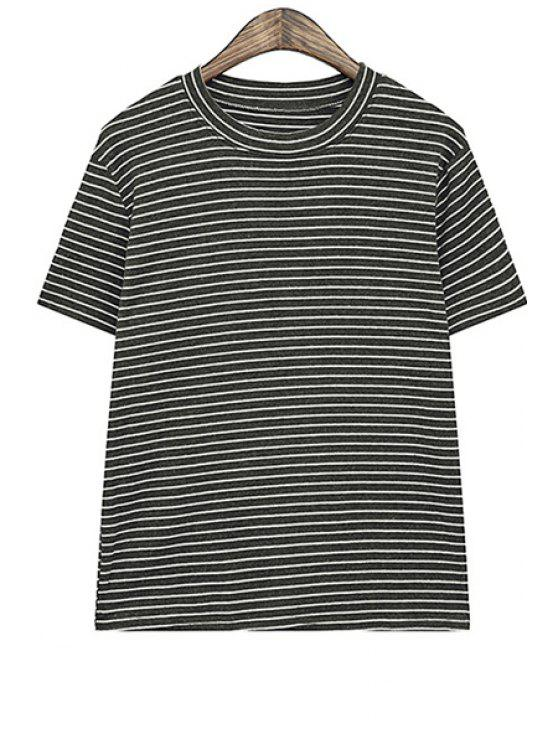fancy Stripe Short Sleeve T-Shirt - BLACK ONE SIZE(FIT SIZE XS TO M)
