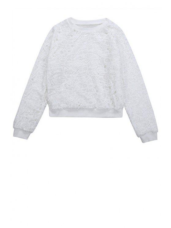 chic Crochet Flower Sequins Sweatshirt - WHITE ONE SIZE(FIT SIZE XS TO M)