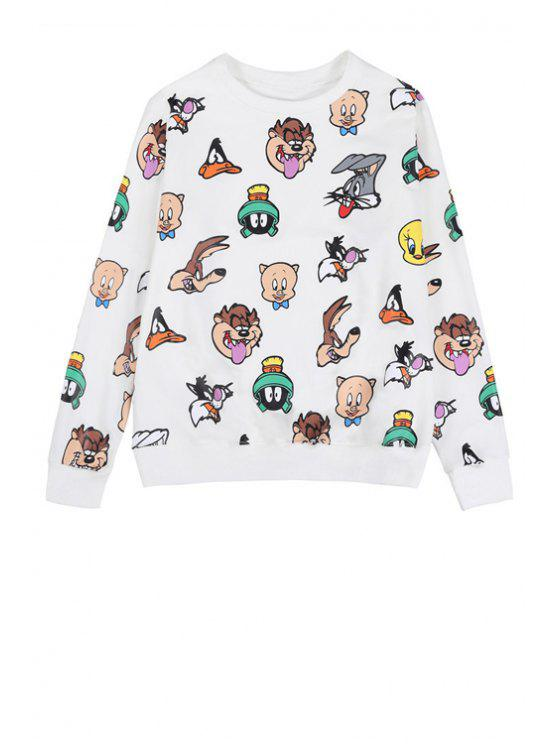 unique Full Characters Print Sweatshirt - WHITE ONE SIZE(FIT SIZE XS TO M)