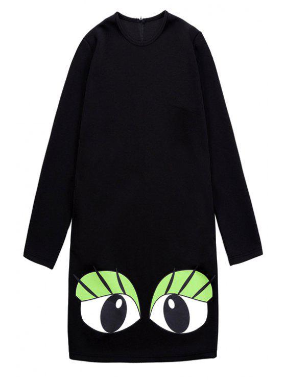 trendy Eye Print Long Sleeve Dress - BLACK ONE SIZE(FIT SIZE XS TO M)