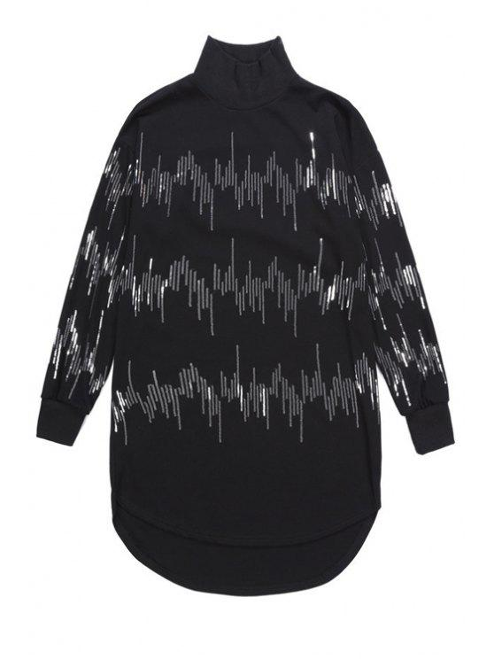 fashion Sequins Turtle Neck Sweatshirt - BLACK ONE SIZE(FIT SIZE XS TO M)