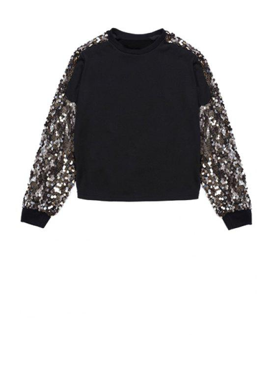 buy Sequins Splicing Sweatshirt - BLACK ONE SIZE(FIT SIZE XS TO M)