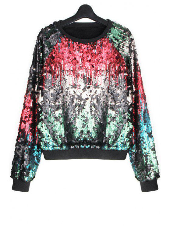 women Colorful Sequins Sweatshirt - RED ONE SIZE(FIT SIZE XS TO M)