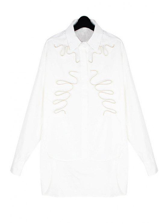 online Zipper Embellished Long Sleeve Shirt - WHITE ONE SIZE(FIT SIZE XS TO M)
