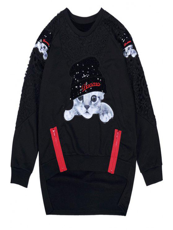 ladies Kitten Pattern Long Sleeves Sweatshirt - BLACK ONE SIZE(FIT SIZE XS TO M)