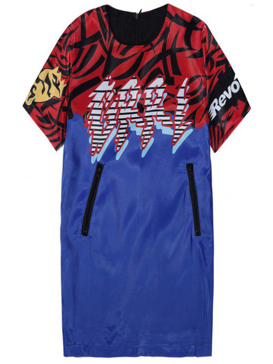 online Short Sleeve Color Block Print T-Shirt - BLUE AND RED ONE SIZE(FIT SIZE XS TO M)