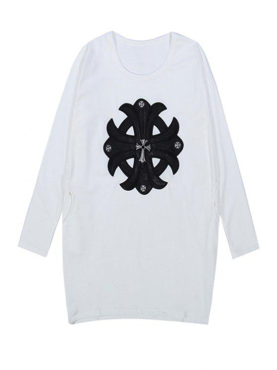new Cross Pattern Long Sleeve T-Shirt - WHITE ONE SIZE(FIT SIZE XS TO M)