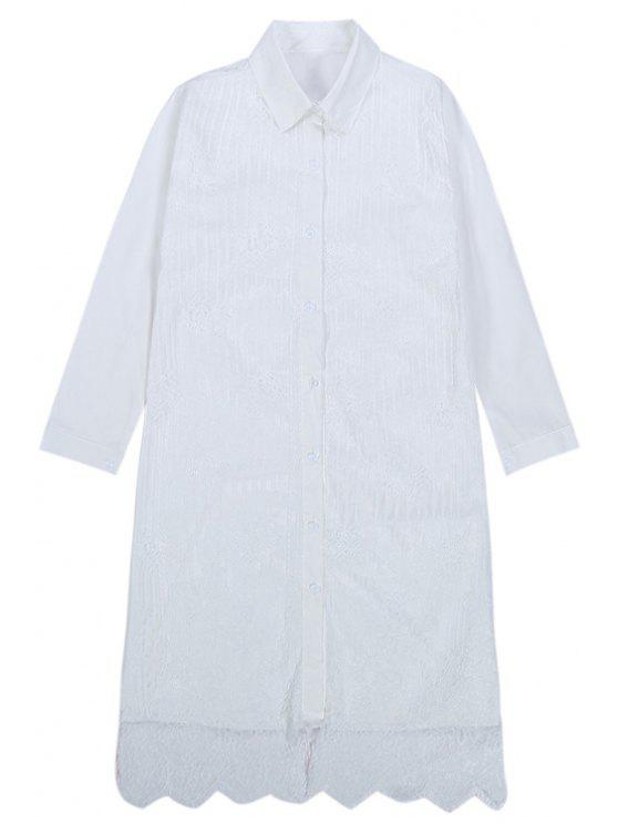 shops Shirt Collar Lace Splicing Dress - WHITE ONE SIZE(FIT SIZE XS TO M)