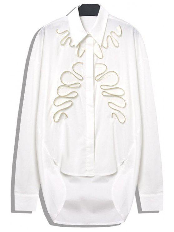outfits Stereo Zipper Splicing Asymmetrical Shirt - WHITE M