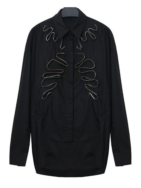 shops Stereo Zipper Splicing Asymmetrical Shirt - BLACK M