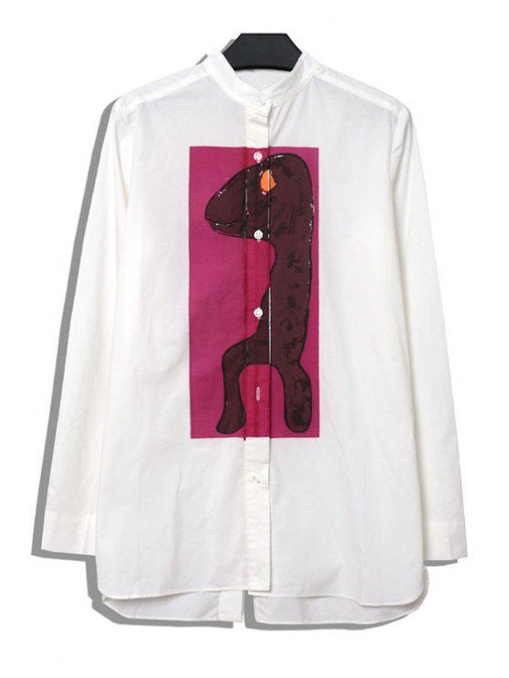 latest Dinosaur Print Asymmetrical Shirt - PURPLE ONE SIZE(FIT SIZE XS TO M)