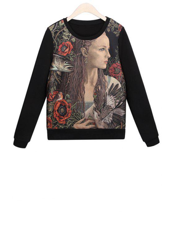 outfit Woman Print Long Sleeves Sweatshirt - BLACK M
