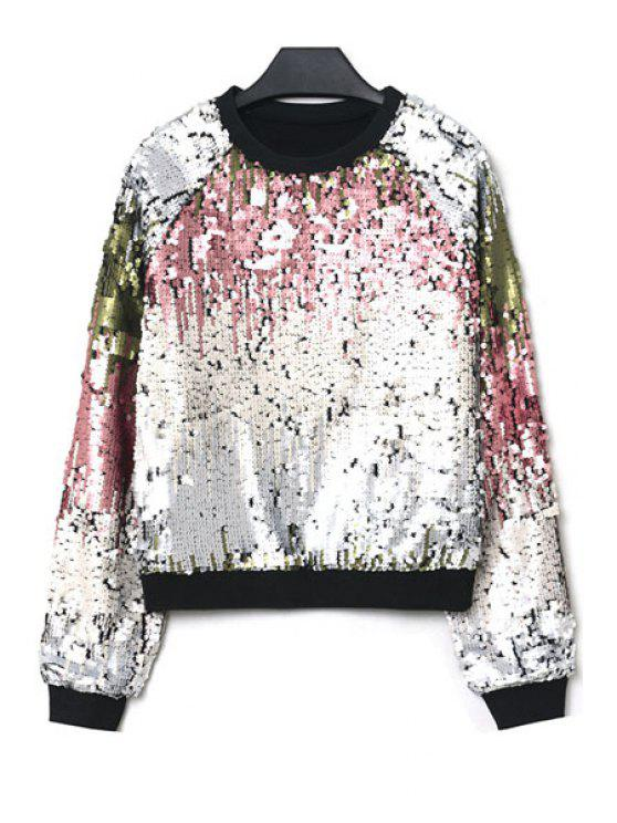 online Sequins Color Block Sweatshirt - WHITE ONE SIZE(FIT SIZE XS TO M)