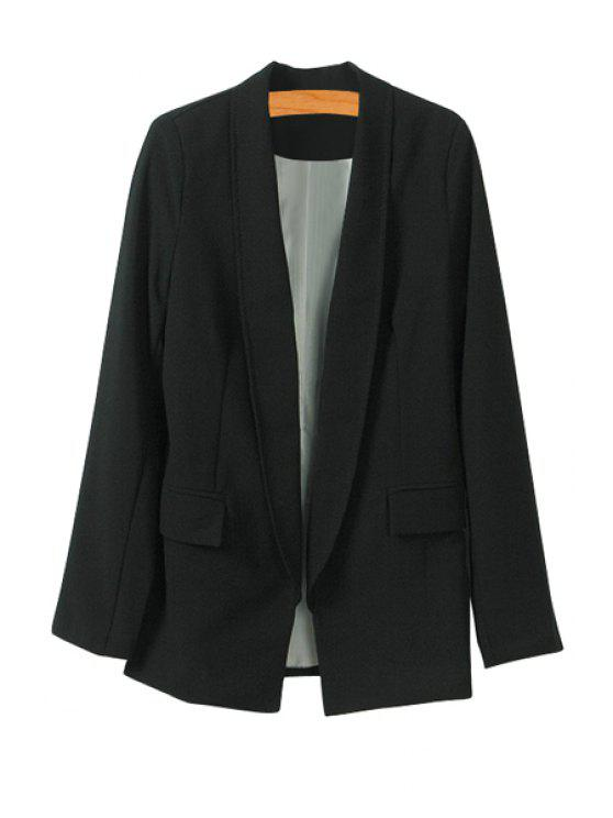 chic Solid Color Shawl Collar Blazer - BLACK S