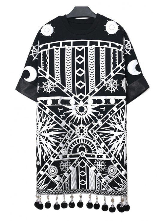 trendy Geometric Print Tassel Dress - BLACK ONE SIZE(FIT SIZE XS TO M)
