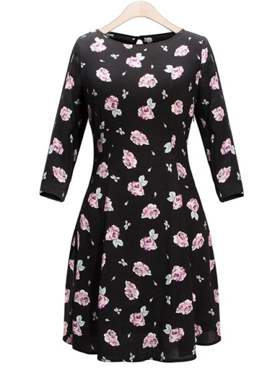 best Floral 3/4 Sleeve Dress - BLACK S