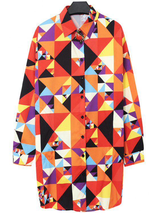 affordable Colorful Geometric Print Shirt - YELLOW ONE SIZE(FIT SIZE XS TO M)