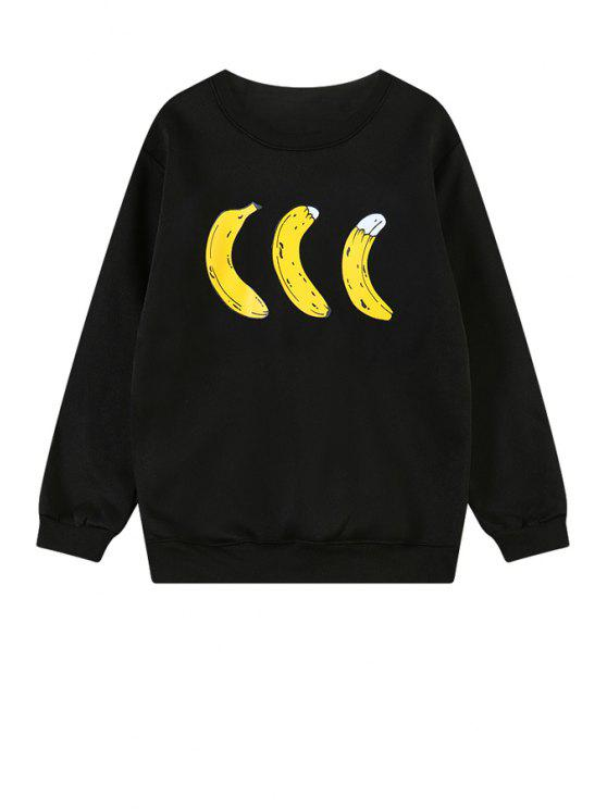 hot Banana Print Long Sleeve Sweatshirt - BLACK M