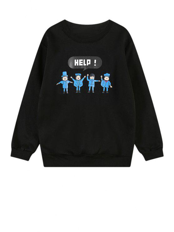 outfits Cartoon Kids Print Long Sleeve Sweatshirt - BLACK M
