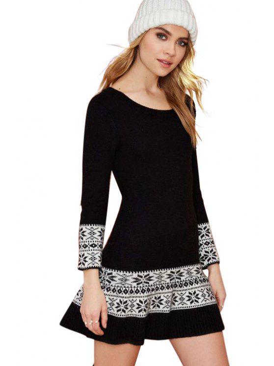 womens Ethnic Pattern Sweater Dress - BLACK S